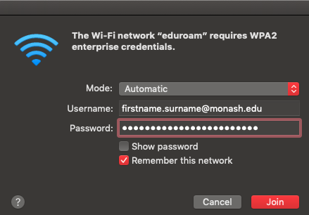 Screenshot of menu with username details inputted