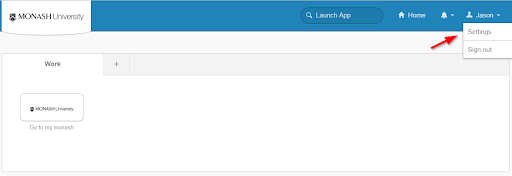 The Okta home page, showing where a user needs to navigate.