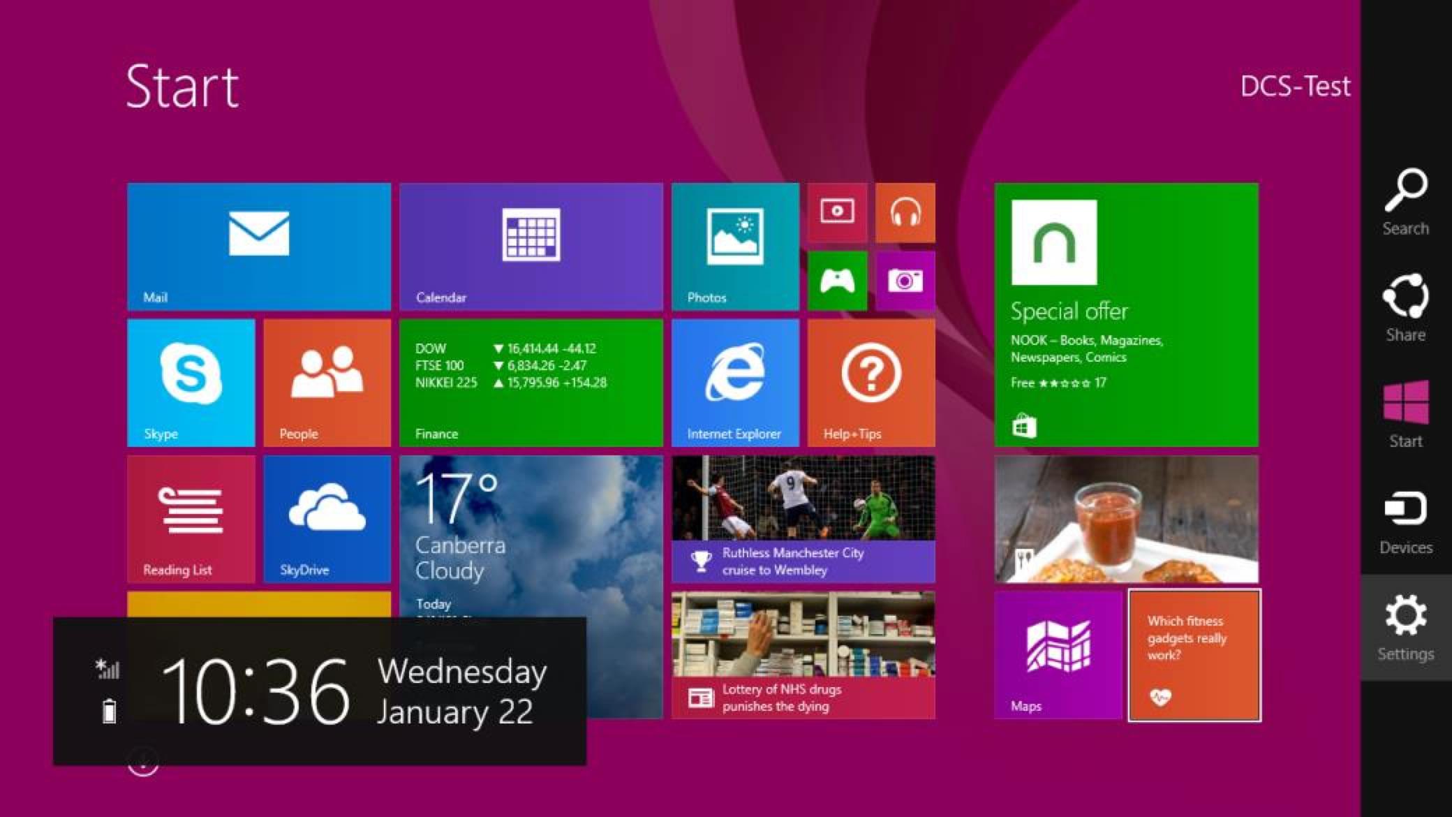 Screenshot of Start Screen with Sidebar