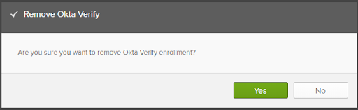 A dialog window asking you to confirm that you want to remove Okta Verify from your phone.