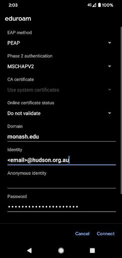 Enter Monash afilliate email
