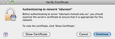 Screenshot of verification window