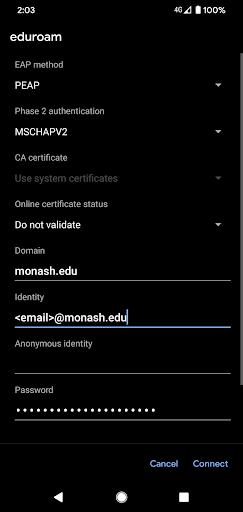 Enter Monash staff email
